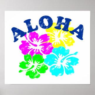 Aloha Vintages buntes hawaiisches Blumen Geschenk Poster