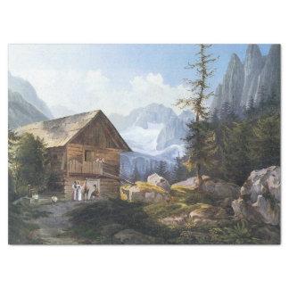 Alpen-Gebirgsbaum- des WaldesChateau-Seidenpapier Seidenpapier