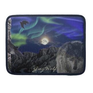 Alpha grauer Wolf-, Krähen-u. MacBook Pro Sleeve