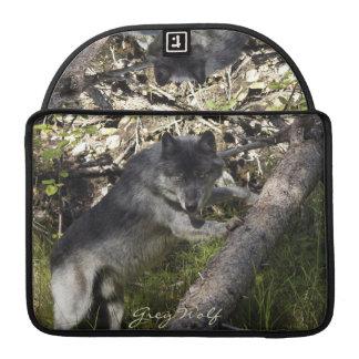 Alpha grauer Wolf-u. Waldtier-MacBook-Hülse Sleeve Für MacBook Pro