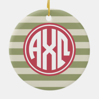 Alpha Monogramm-Streifen-Muster Chi-Omegas | Keramik Ornament