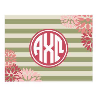 Alpha Monogramm-Streifen-Muster Chi-Omegas | Postkarte