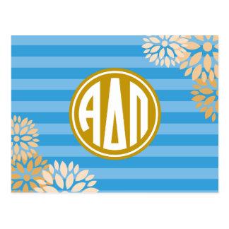 Alpha Monogramm-Streifen-Muster Deltapus | Postkarte