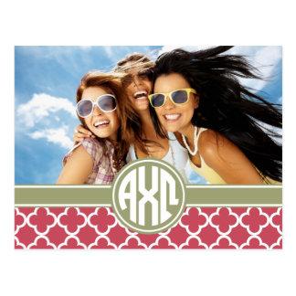 Alpha Monogramm und Foto Chi-Omegas | Postkarte