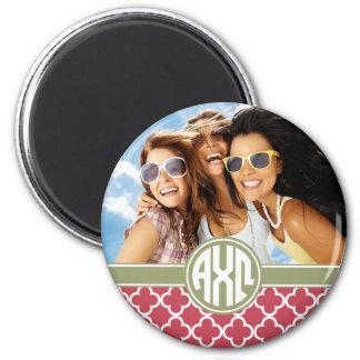 Alpha Monogramm und Foto Chi-Omegas | Runder Magnet 5,7 Cm