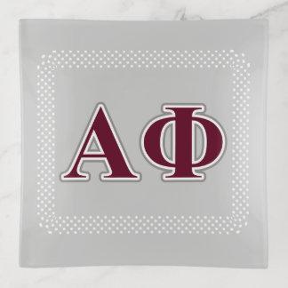 Alpha Phi-Silber-und Bordeaux-Buchstaben Dekoschale