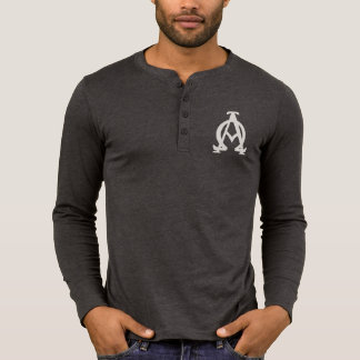 Alpha und Omega-Leinwand Henley langes T-Shirt