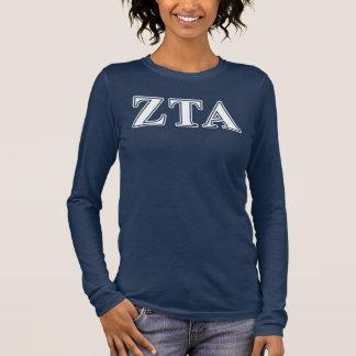 Alpha Weiß-und Marine-Blau-Buchstaben ZetaTau Langarm T-Shirt