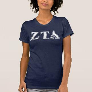 Alpha Weiß-und Marine-Blau-Buchstaben ZetaTau T-Shirt