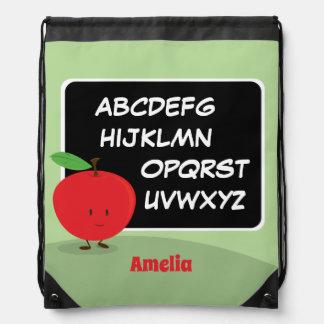Alphabet Apple mit Name  Drawstring-Rucksack Turnbeutel