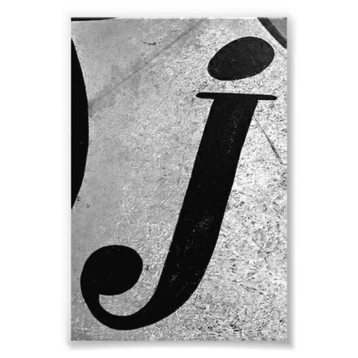 Alphabet-Buchstabe-Fotografie J1 Schwarzweiss-4x6