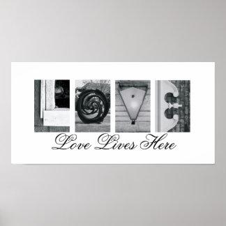 Alphabet-Buchstabe-Fotografie-Liebe-Leben hier Poster