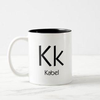 Alphabet der Typografie-Tasse - Kabel Zweifarbige Tasse