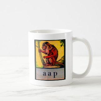 Alphabet des Retro niederländischer Affe aap das Kaffeetasse