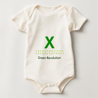 Alphabet grünes X Baby Strampler