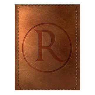 Alphabet Leder Buchstabe R Postkarte