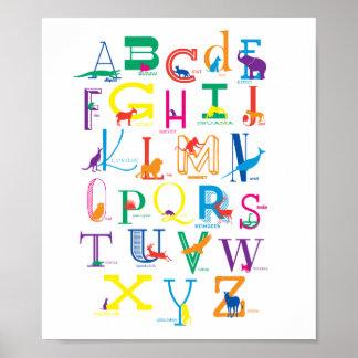 Alphabet-Plakat mit TierSilhouetten in der Farbe Poster