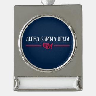 Alphagamma-Dreieck USA Banner-Ornament Silber