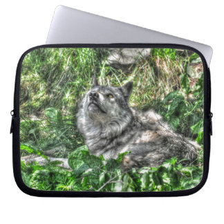 Alphamannesgrauer Wolf-Tier-Foto Laptop Sleeve