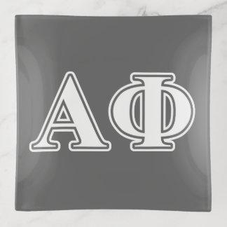 Alphaphi-weiße und silberne Buchstaben Dekoschale