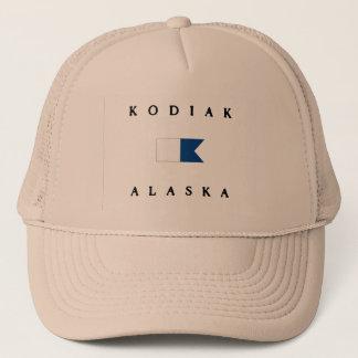 Alphatauchen-Flagge Kodiak-Alaskas Truckerkappe