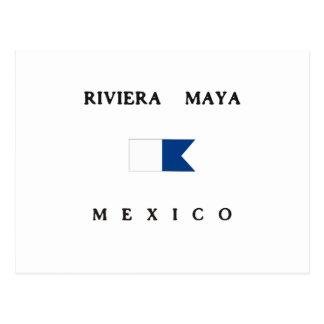 Alphatauchen-Flagge Riviera-Maya-Mexikos Postkarte
