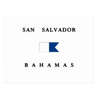 Alphatauchen-Flagge San Salvadors Bahamas Postkarte