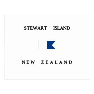 Alphatauchen-Flagge Stewart-Insel-Neuseelands Postkarte