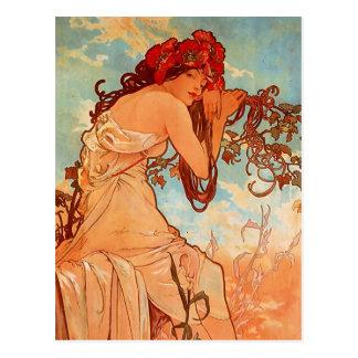 Alphons Mucha - das Vierjahreszeiten - SOMMER Postkarte