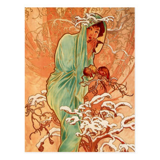 Alphons Mucha - das Vierjahreszeiten - Winter Postkarte
