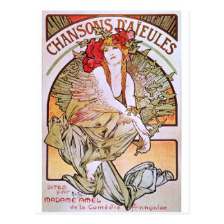 Alphonse Mucha. Chansons D 'Aieules, c.1898 Postkarte
