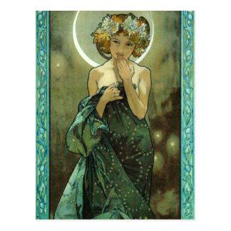Alphonse Mucha Clair De Lune Postcard Postkarte