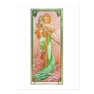 Alphonse Mucha die Jahreszeiten: Frühling Postkarte