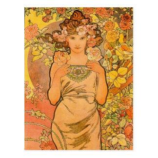 Alphonse Mucha die Rosen-Postkarte Postkarte