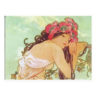Alphonse Mucha. Ete/Sommer, 1896 Postkarte