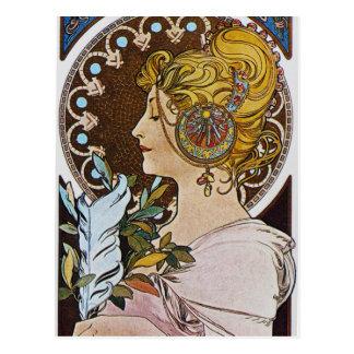 Alphonse Mucha. La-Feder/der Stift, 1899 Postkarte
