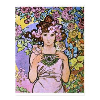 Alphonse Mucha. La-Rose/Rose, 1897 Postkarte