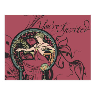 Alphonse Mucha lädt ein Postkarte
