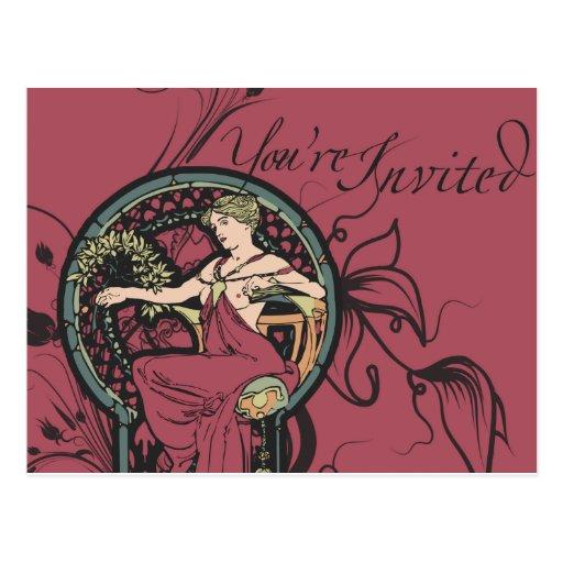 Alphonse Mucha lädt ein Postkarten