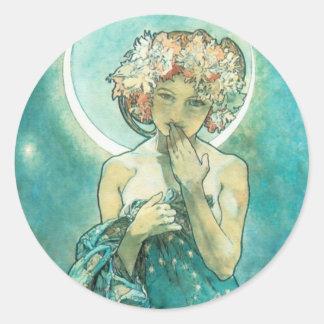 Alphonse Mucha Moonlight Clair De Lune Art Nouveau Runder Aufkleber