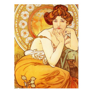 Alphonse Mucha Topaz-Postkarte Postkarte