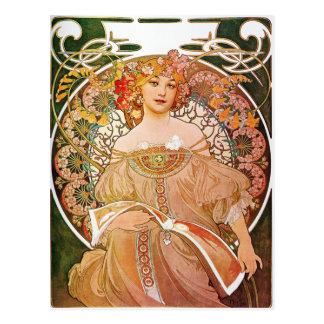 Alphonse Mucha, Träumerei/Tagtraum, 1896. Postkarte