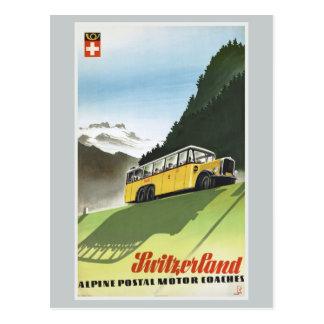 Alpiner Bus-Vintage Reise der Schweiz Postkarte