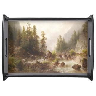 Alpines Fluss-Waldgebirgsbrücken-Serviertablett Serviertablett