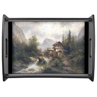 Alpines Fluss-Waldgebirgschalet-Serviertablett Tablett