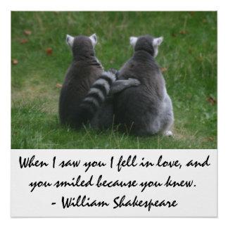Als ich Sie sah, fiel ich in Liebe - Lemur-Liebe Poster