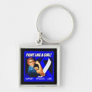 Als-Krankheit Rosie Nieteneinschläger - Kampf wie  Silberfarbener Quadratischer Schlüsselanhänger