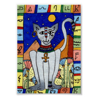 Alte ägyptische Katzen-MiniVolkskunst Poster