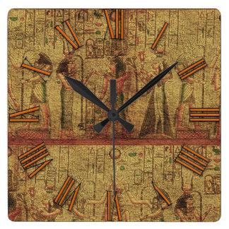 Alte ägyptische Tempel-Wand-Kunst Quadratische Wanduhr