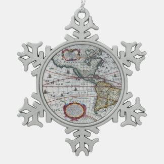 Alte Amerika-Karten Schneeflocken Zinn-Ornament